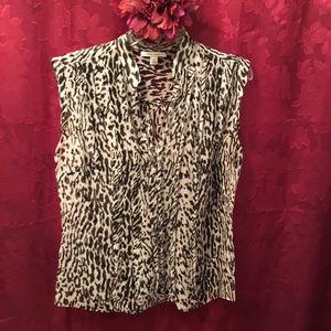 100% Silk Sheer Leopard print Bouse